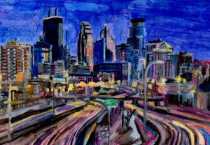 Watercolor painting of the Minneapolis Skyline by Victor Van