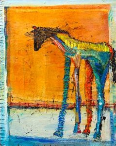 Long-legged horse painting